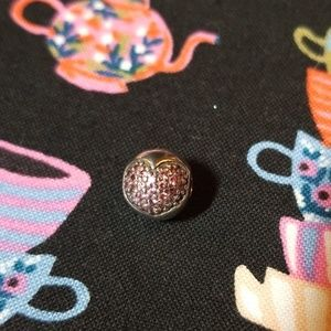 Pandora Pink Pave Heart Clip Charm Silver
